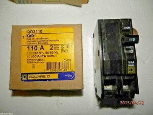 Square D Qo2110 Circuit Breaker Plug in 2 Pole 110 Amp 10k Aic Nib