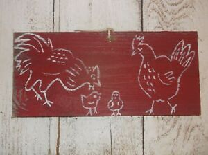Primitive French Chicken Hen Rooster Chicks Chick Weathered Wood Sign Vintage