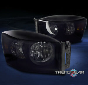 For 2006 2008 Dodge Ram 1500 2500 3500 Replacement Headlights Lamps Black Smoke