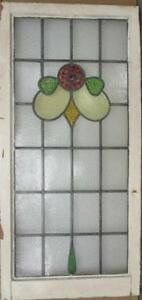 Large Old English Leaded Stained Glass Window Pretty Floral 20 75 X 43 5
