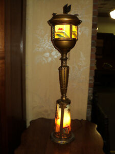 Art Deco Lighted Smoking Stand Lamp Reverse Painted Glass