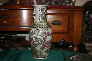 Large Chinese Ceramic Vase Painted Birds Flowers Signed Bottom Detailed 2