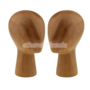 Perfeclan 2pc Wooden Mannequin Head Model Hair Wigs Hat Display Holder Stand