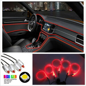 Red Car Interior Neon Ambient Led Light Strip Cuttable 1x Rf Remote Controller