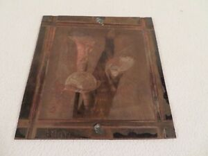 Vintage Etching Engraved Printing Machine Press Plate Stamp Blue Calla Lily