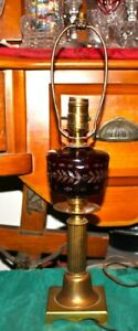 Vintage Ruby Red Cut To Clear Small Table Desk Lamp Brass Metal Base