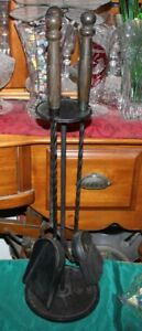 Antique Fireplace 3 Piece Tool Set W Stand Wood Handles Twisted Metal Hearthware