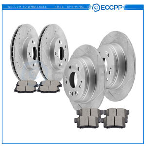 For 2002 04 Honda Crv Ex Lx Front Rear Drilled Slotted Brake Rotors Ceramic Pads