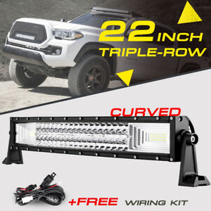 22 1296w Tri row Curved Cree Led Work Light Bar Flood Spot Offroad Truck 20 24