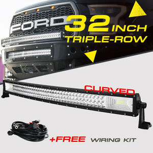 34 1944w Tri row Curved Cree Led Work Light Bar Flood Spot Offroad Truck 30 32
