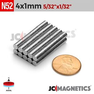 50 100 1000pc 4mm X 1mm 5 32 x1 32 N52 Rare Earth Neodymium Small Magnet Disc