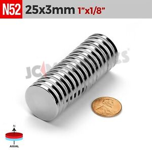 25 Mm X 3 Mm 1in X1 8in N52 Super Strong Disc Rare Earth Neodymium Magnet
