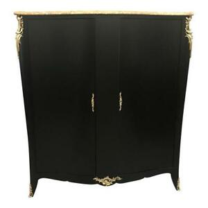 Monumental French Art Deco Ebonized Dry Bar Cabinet With Marble Top 1940 S