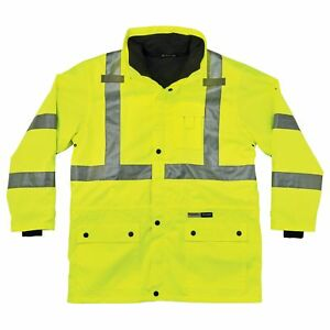 Glowear 8385 Ansi High Visibility 4 in 1 Reflective Safety Jacket Lime New