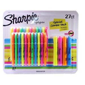 New Sanford Sharpie Highlighters Assorted Colors Includes 2 Sizes 27 Piece