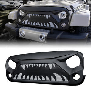 Xprite Gladiator Grille W Monster Teeth Steel Mesh For 2007 2018 Jeep Wrangler