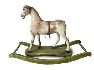 European Antique Wooden Rocking Horse