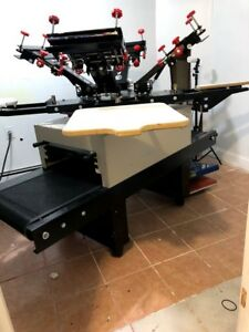 4 Color 4 Station All In One Screen Printing Press And Conveyor Dryer