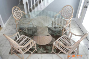 Vintage Mcguire Bamboo Rattan Dining Table Cracked Ice Chairs Set Chinoiserie