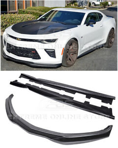 For 16 Up Camaro Ss T6 Style Front Bumper Splitter Lip W Side Skirts Combo Kit