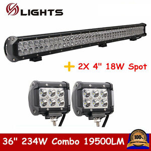 36 inch 234w Combo Led Light Bar Off road Ute For Jeep 4 18w Spot Pod Lights