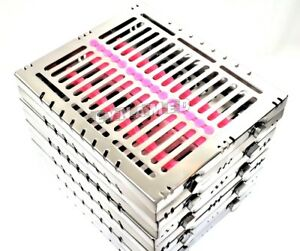 5 Pink German Dental Autoclave Sterilization Cassette Racktray For 15 Instrument