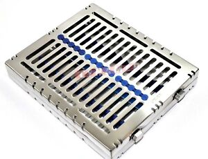 1 German Dental Autoclave Sterilization Cassette Rack Tray For 15 Instrument Blu