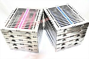 10 German Dental Autoclave Sterilization Cassette Box Tray For 15 Instrument