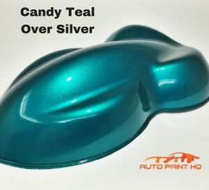 Candy Teal Over Silver Basecoat Quart Car Vehicle Motorcycle Auto Paint Kit