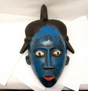 Vtg Baule African Hand Carved Guro Mask Blue Ivory Coast Large Tribal Ritual
