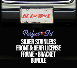 Bundled Front Rear Lic Brackets 2 Silver Stainless Frames 08 09 Subaru Outback