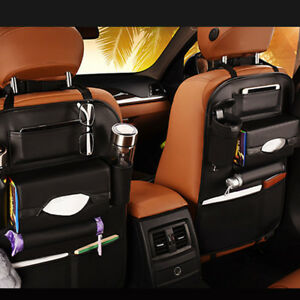 Car Seat Back Bag Organizer Storage Ipad Phone Holder Multi Pocket Leather Cool