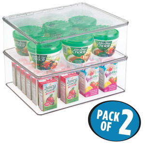 Kitchen Pantry Refrigerator Freezer Container Box W Lid 2pack 10 5 Quart Clear