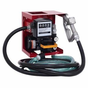 110v Electric Diesel Oil Fuel Transfer Pump W Meter 13 Hose Nozzle