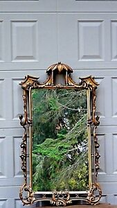 Antique Fine Chinoiserie Gilt Wood Carved Ornate Flowers Pagoda Frame Mirror