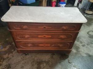 Antique Marble Top 3 Drawer Dresser With 4th Hidden Drawer Decorative Woodwork