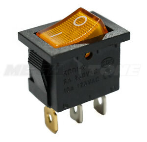 Spst Kcd1 Mini Rocker Switch Illuminated Amber Lamp On off 6a 250vac Usa Seller