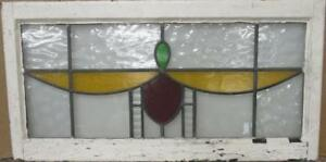 Large Old English Leaded Stained Glass Window Simple Geometric 38 5 X 19