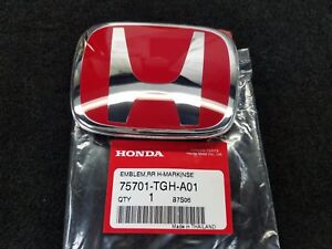 Genuine Honda Civic 5dr Hatchback Type r Rear Red H Emblem 75701 tgh a01