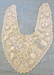 Antique 1910 Irish Crochet Lace Bertha Collar Ivory White Raised Flowers Perfect