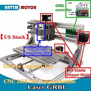 us Stock 3 Axis Usb 2418 Grbl Control Mini Diy Cnc Router Milling Laser Machine