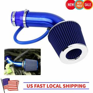 Universal 76mm 3 Car Cold Air Intake Filter Induction Kit Pipe Hose System Blue