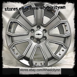 20 Inch Hyper Black Chrome Inserts 2017 Chevrolet Tahoe Ltz Oe Replica Wheels