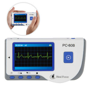 Portable Heal Force Handheld Color Ekg Heart Monitor W Ecg Lead Cable