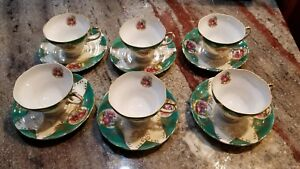 Royal Sealy Japan China Green Gold Footed Courting Couple Cup Saucer Set For 6