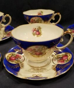 Royal Sealy Japan China Blue Gold Footed Courting Couple Cup Saucer Set For 6