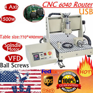 4 Axis Usb 6040 1 5kw Vfd Cnc Router Engraver Engraving Drill Milling Machine