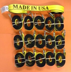 12 Lasso Strap Wheel Lift Tie Down Set Of 16 Usa Made Towing Rollback Wrecker