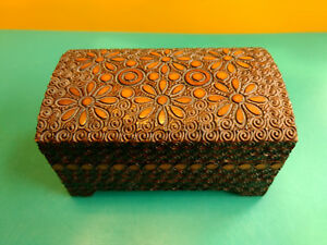 Small Decorative Collectible Wood Hippie Flower Swirl Design Pattern Trinket Box