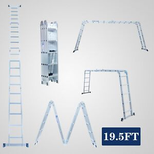 Painting Wall 19 5ft Aluminium Foldable Extension Ladder 4x5 Include 2 Platforms